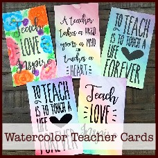 watercolor teacher cards