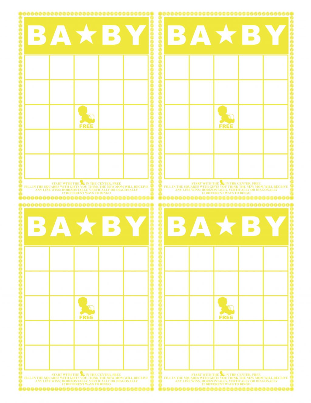 It is a graphic of Obsessed Baby Bingo Printable