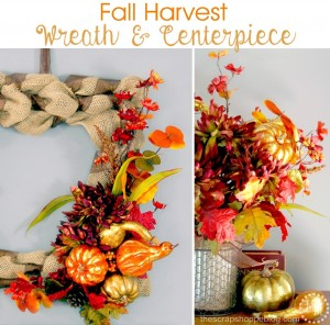 Fall Harvest Wreath and Centerpiece