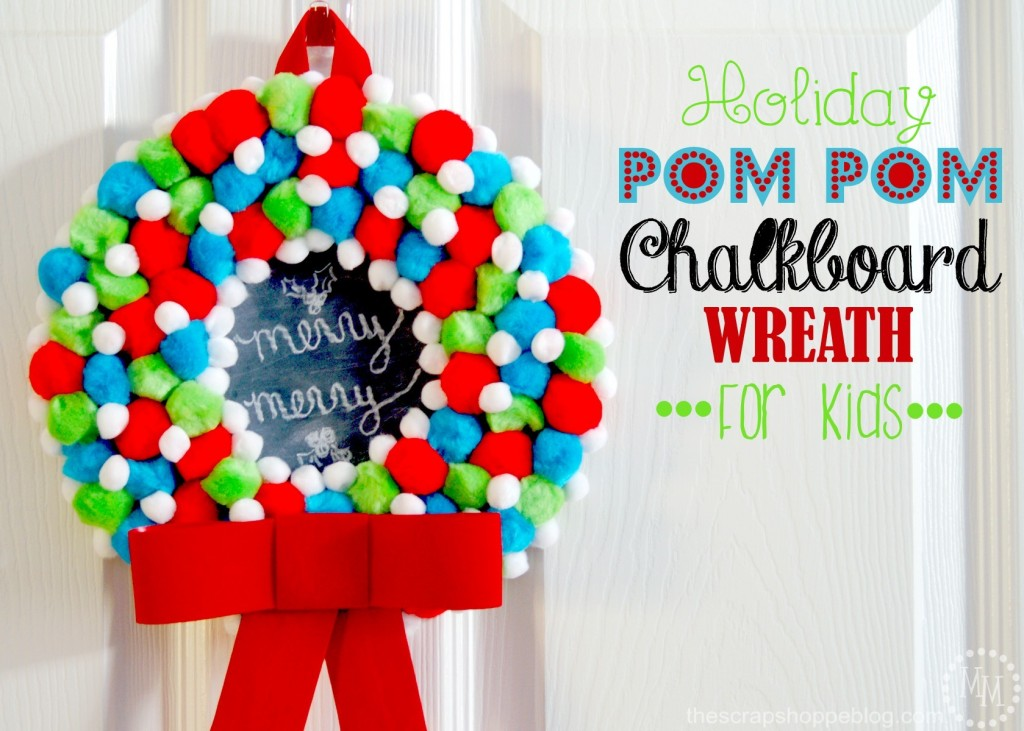 holiday-pom-pom-chalkboard-wreath-for-kids