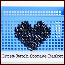 cross-stitch storage basket