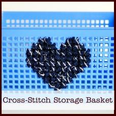 cross-stitch storage basket