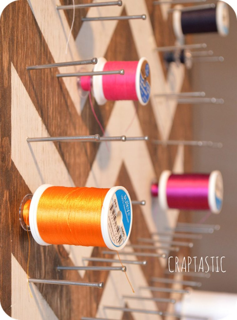 DIY painted chevron thread holder