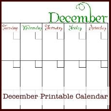 december printable calendar