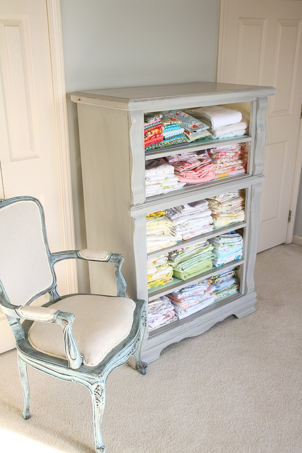 upcycled dresser as fabric storage