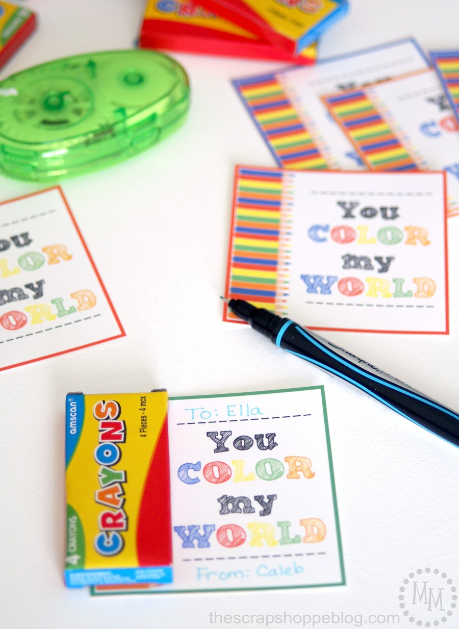 graphic about You Color My World Printable identified as Crayon Valentine Printable! - The S Shoppe