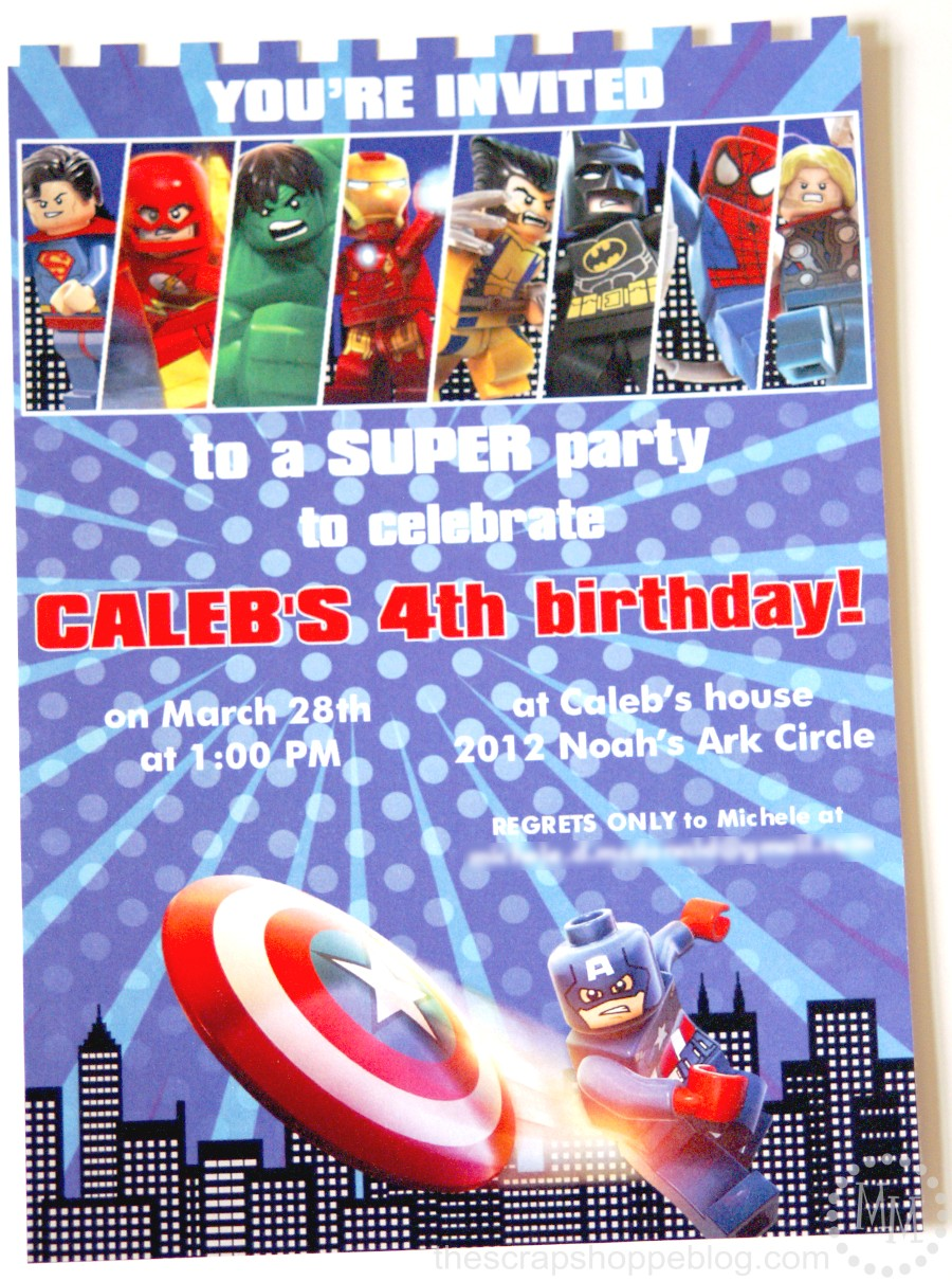 Lego Superhero Birthday Invitation