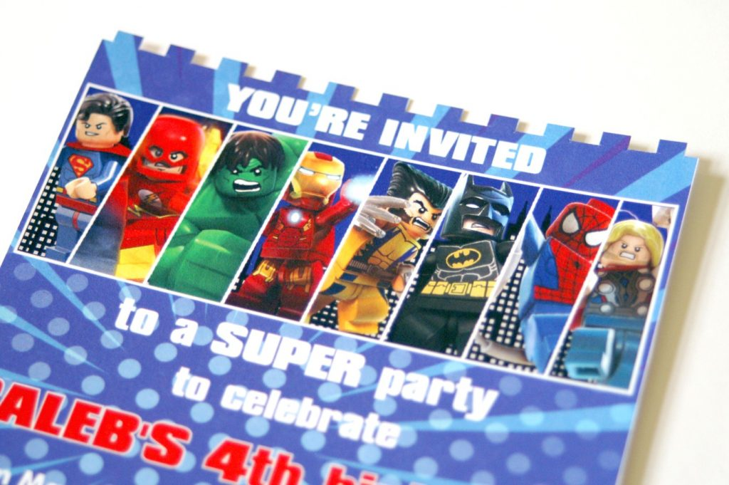 Lego Superhero Birthday Invitation The Scrap Shoppe