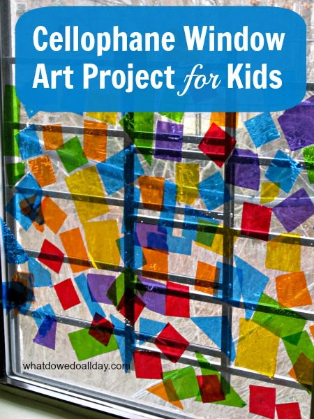 DIY Indoor Boredom Busters for Kids - cellophane window art project for kids