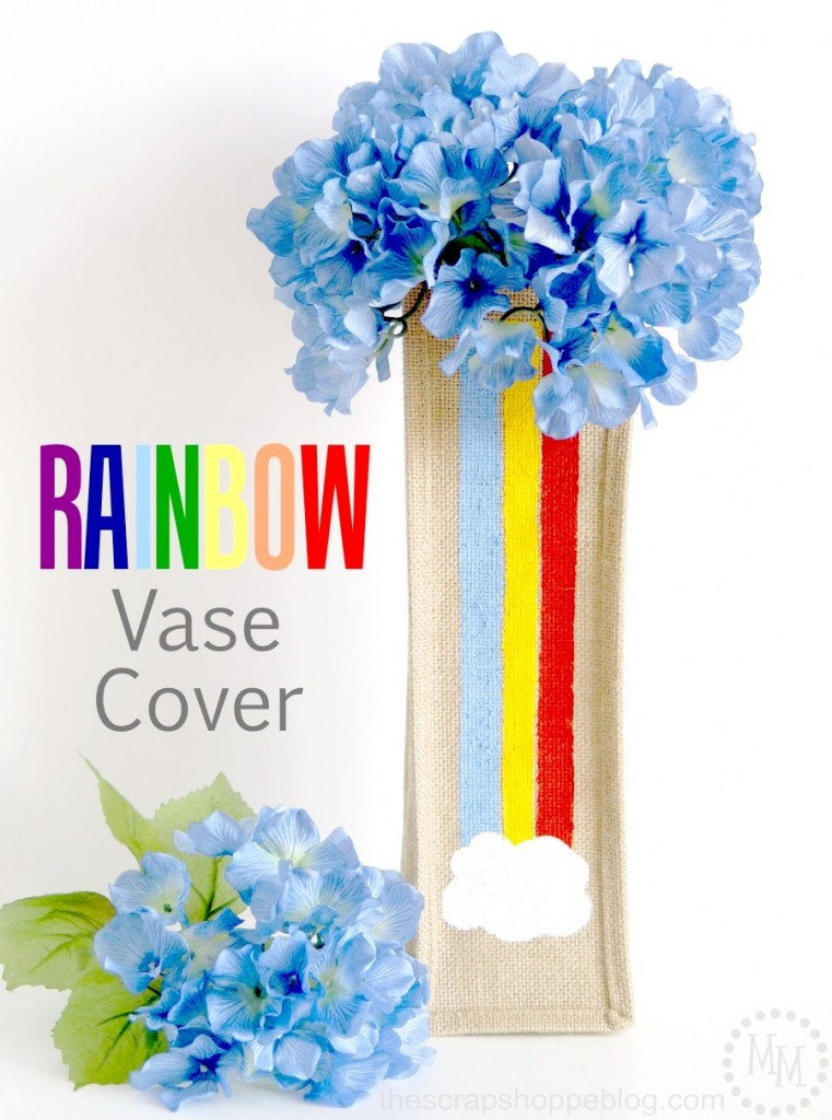 Simple Rainbow Vase Cover made from a burlap wine gift bag - so easy and so fun for St. Patrick's Day or spring decor!
