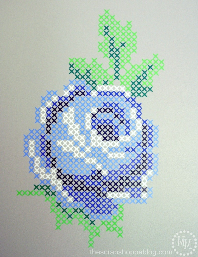 Vinyl Rose Cross-Stitch Wall Art