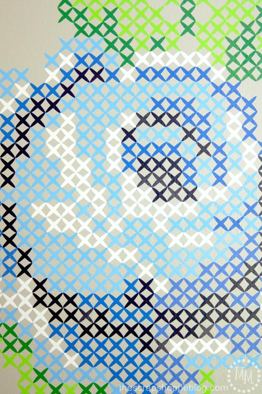 Wall Decor Cross Stitch : Vinyl cross stitch wall art the scrap pe