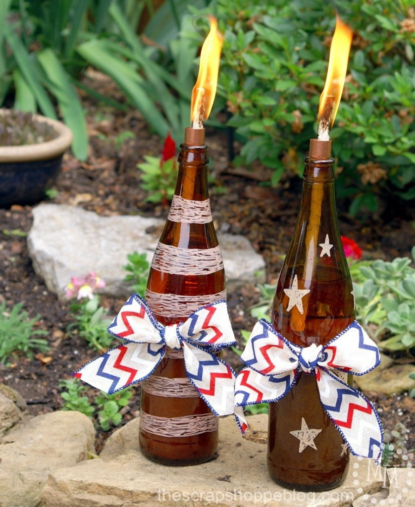 Patriotic DIY Tiki Torches - upcycle bottles into portable mosquito repellents!