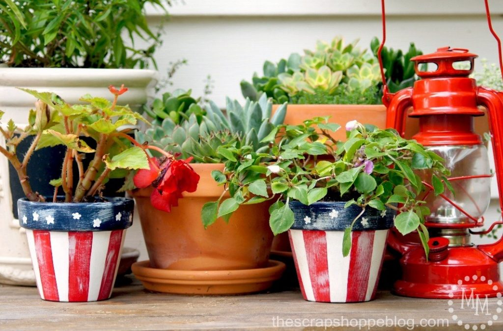 Star Spangled Flower Pots