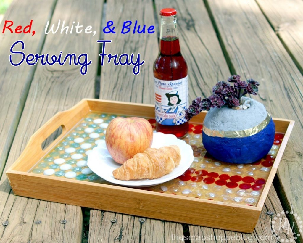 Red, white, and blue serving tray made with glass beads and epoxy.