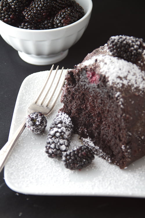Chocolate Blackberry Cake Slice