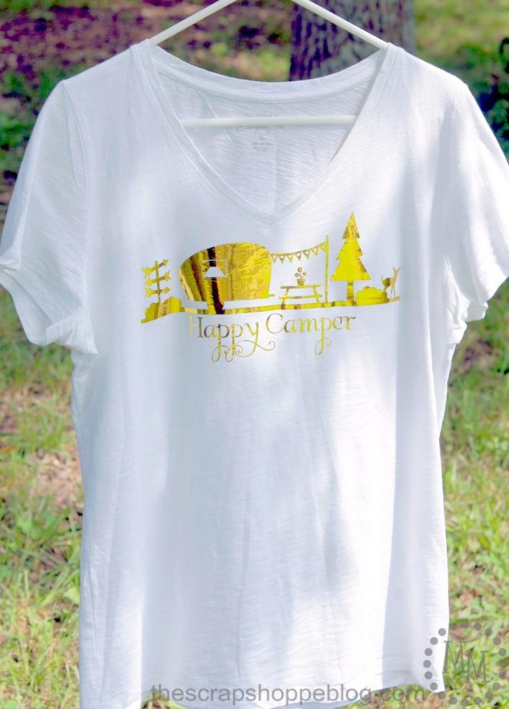 Retro Camper Happy Camper Gold Fold T-Shirt