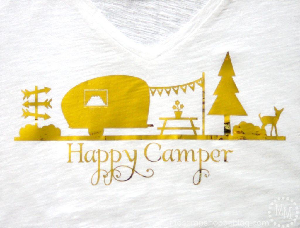 Retro Camper Happy Gold Fold T Shirt