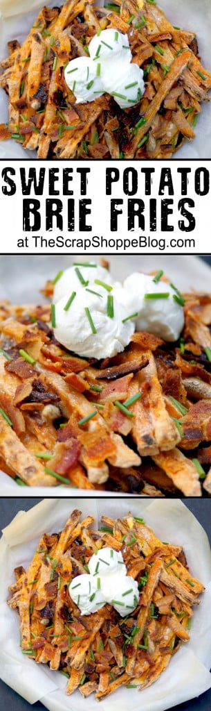 Baked Sweet Potato Brie Fries Recipe - a healthier cheese fry option!