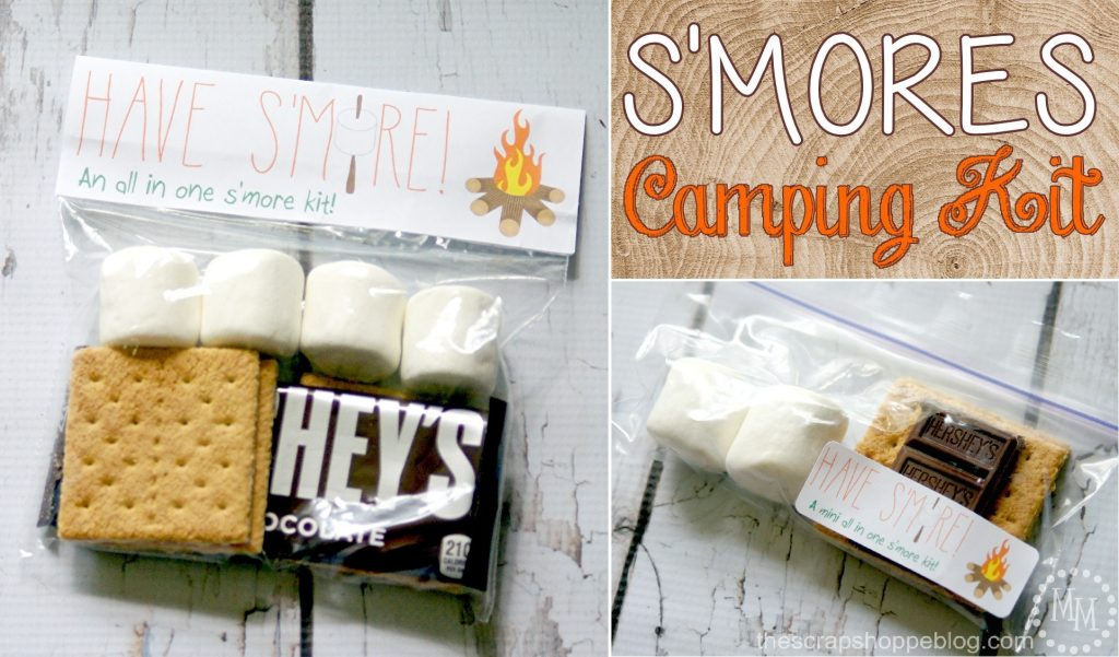 S'mores Camping Kits with Printables - perfect for camping with large groups or parties!