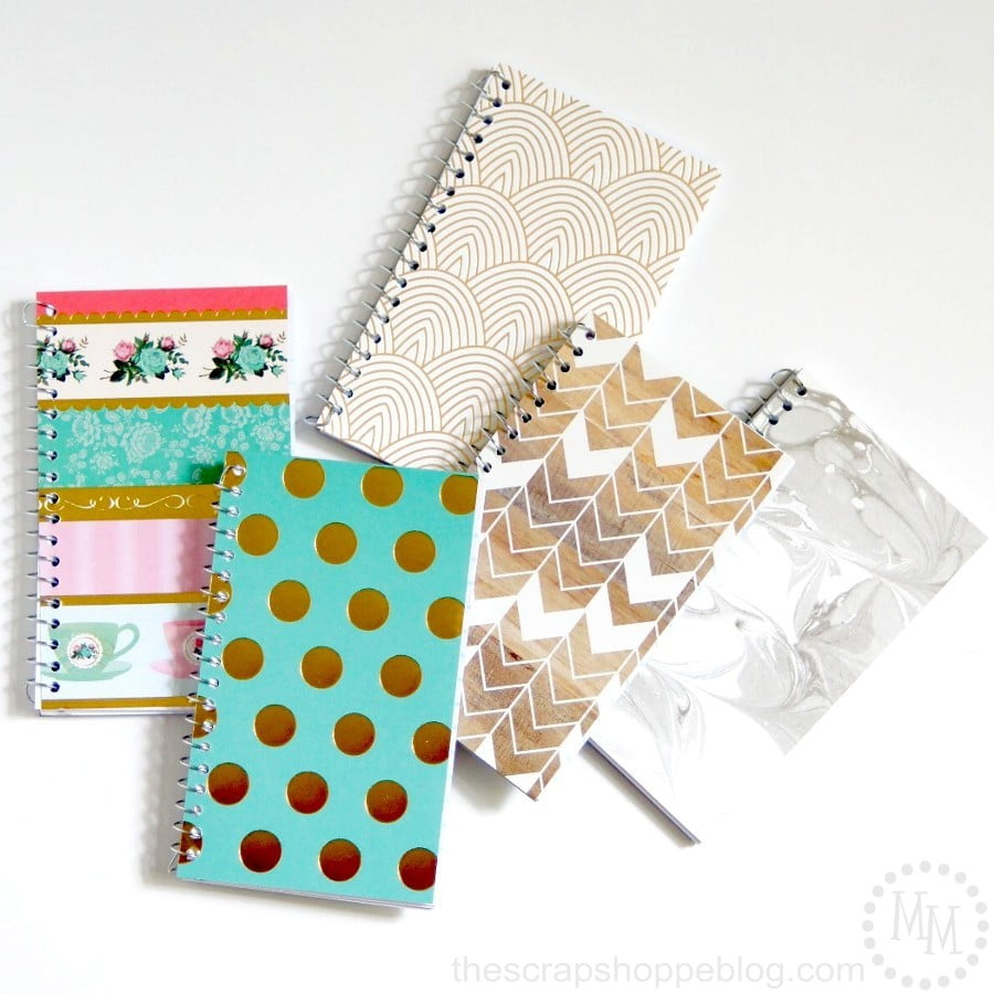 How To Cover A Notebook With Cover Paper ~ Diy trendy spiral note pads the scrap shoppe