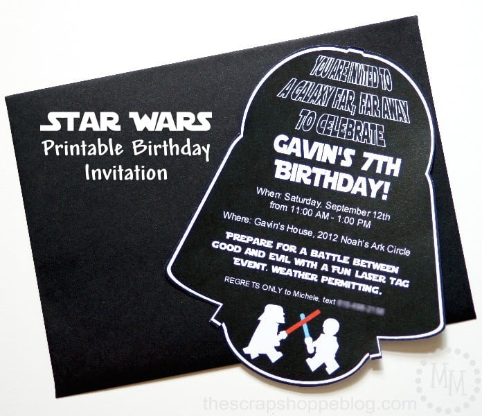 image relating to Star Wars Birthday Invitations Printable named Star Wars Darth Vader Birthday Invitation - The S Shoppe
