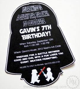 Star Wars Darth Vader PRINTABLE Birthday Invitation