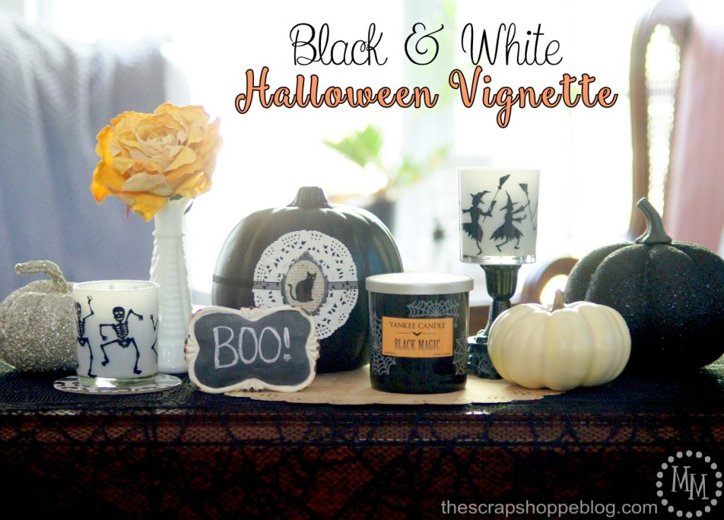 Black and White Halloween Vignette by The Scrap Shoppe Blog