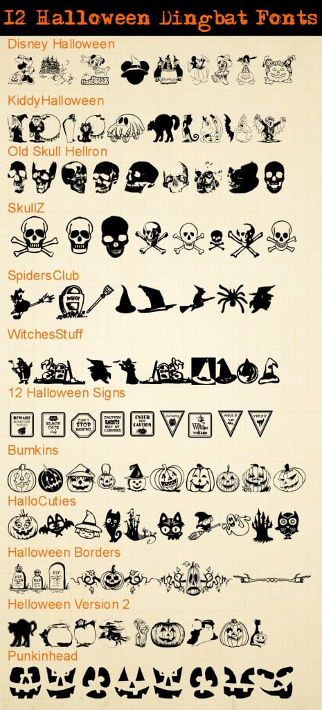 Halloween Dingbat Fonts for printables