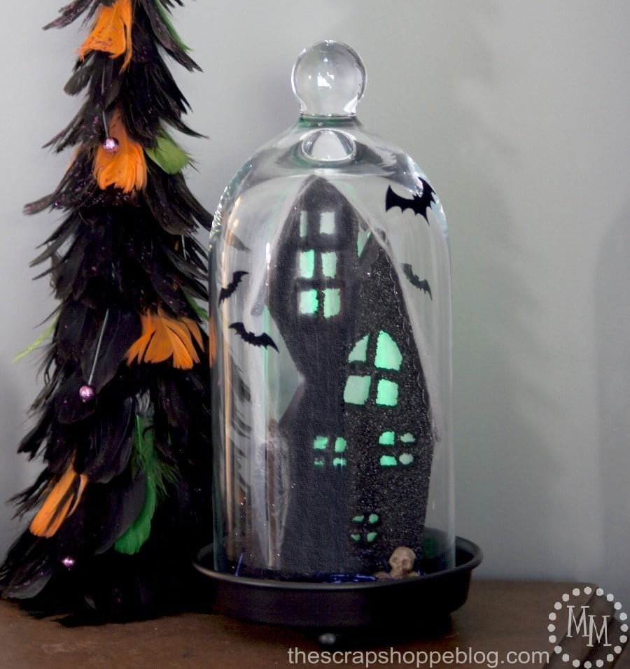 Backlit Haunted House Cloche made with Fun Foam! #makeitfuncrafts