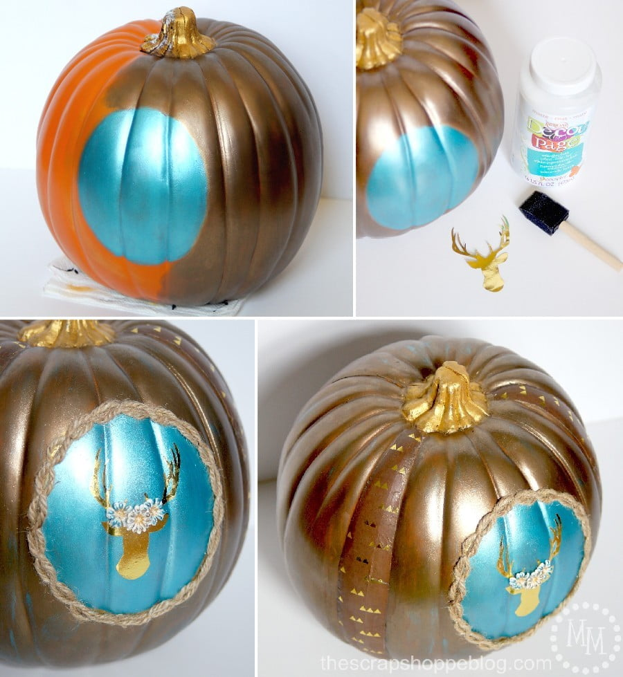 Painted Thanksgiving Pumpkin with Gold Deer Silhouette