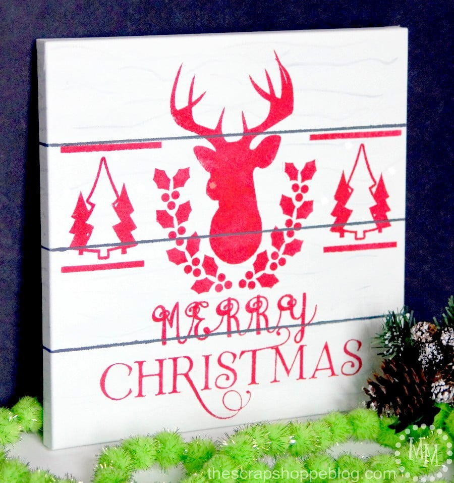 Faux Pallet Christmas Sign on Canvas!