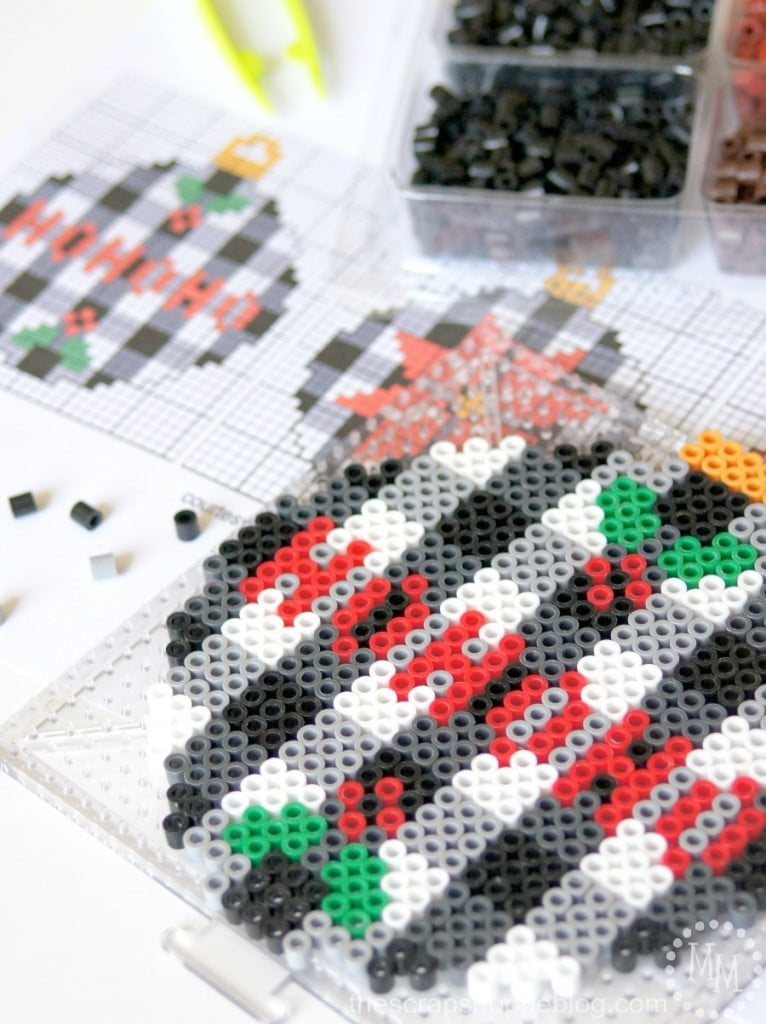 Trendy Buffalo Check Perler Bead Christmas Ornaments with FREE Patterns