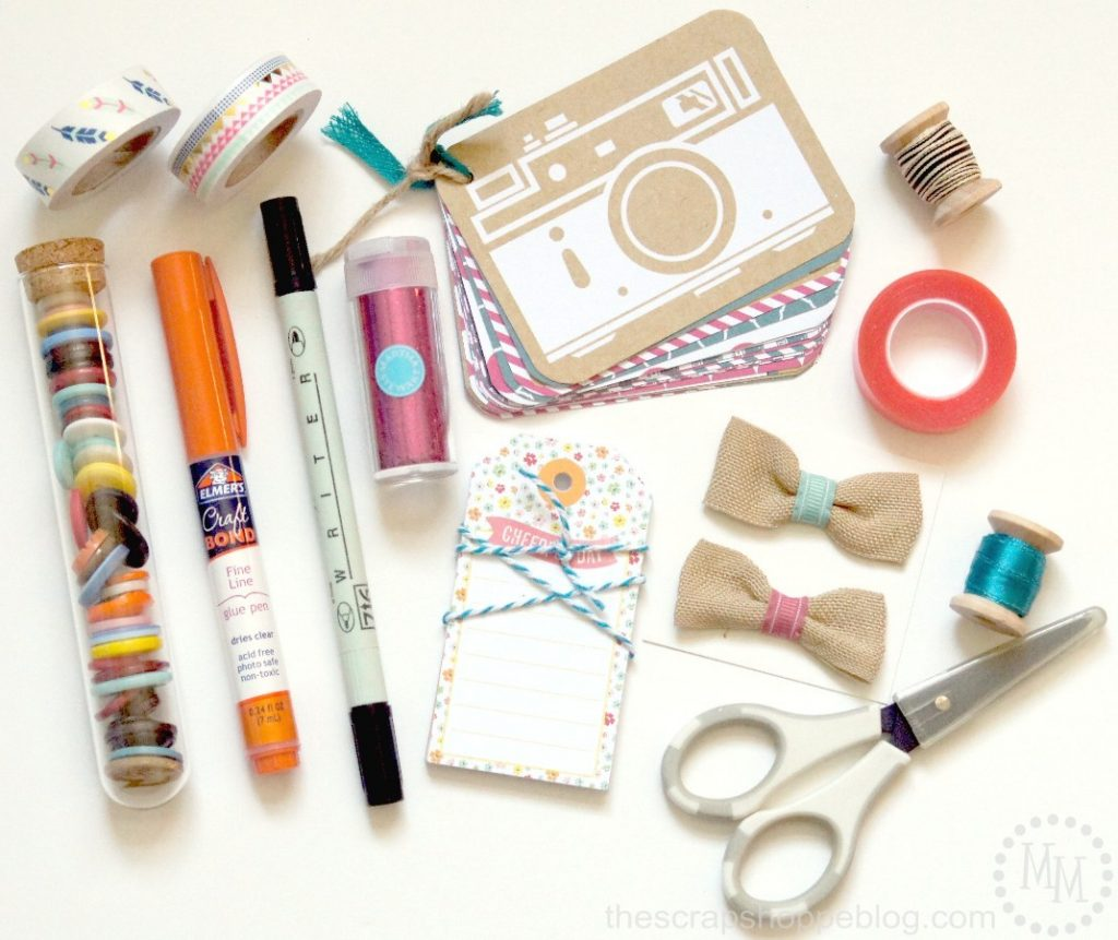 Gift in a Jar for Scrapbookers - decorate a Mason jar and fill it full of these scrapbook supplies!