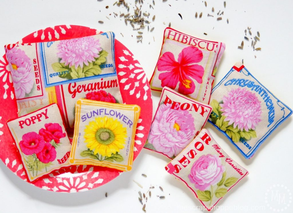DIY Lavender Sachets with Flower Seed Packet Fabric - Great stocking stuffer idea!