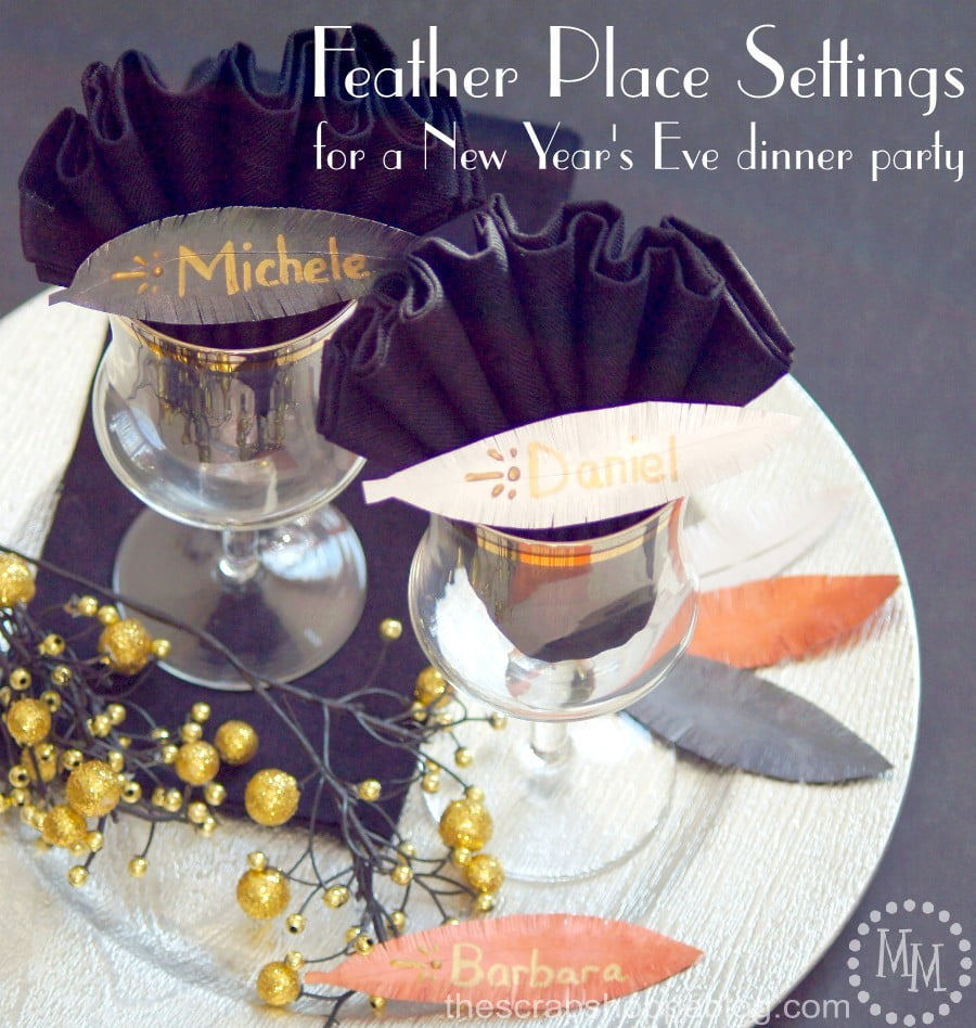 Simple Feather Place Settings for a fun New Year's Eve dinner party - easy to make and so fun for a roaring 20's party!