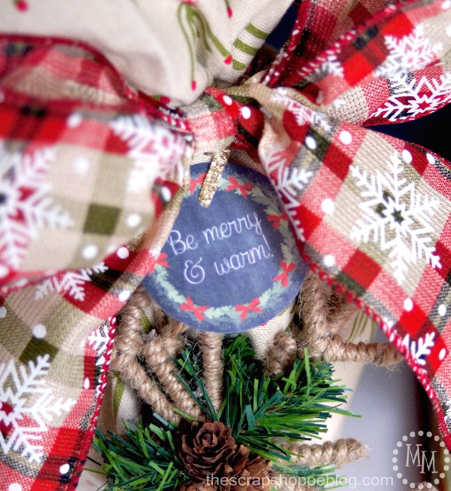 Be Merry & Warm chalkboard gift tags with a fun mug gift idea