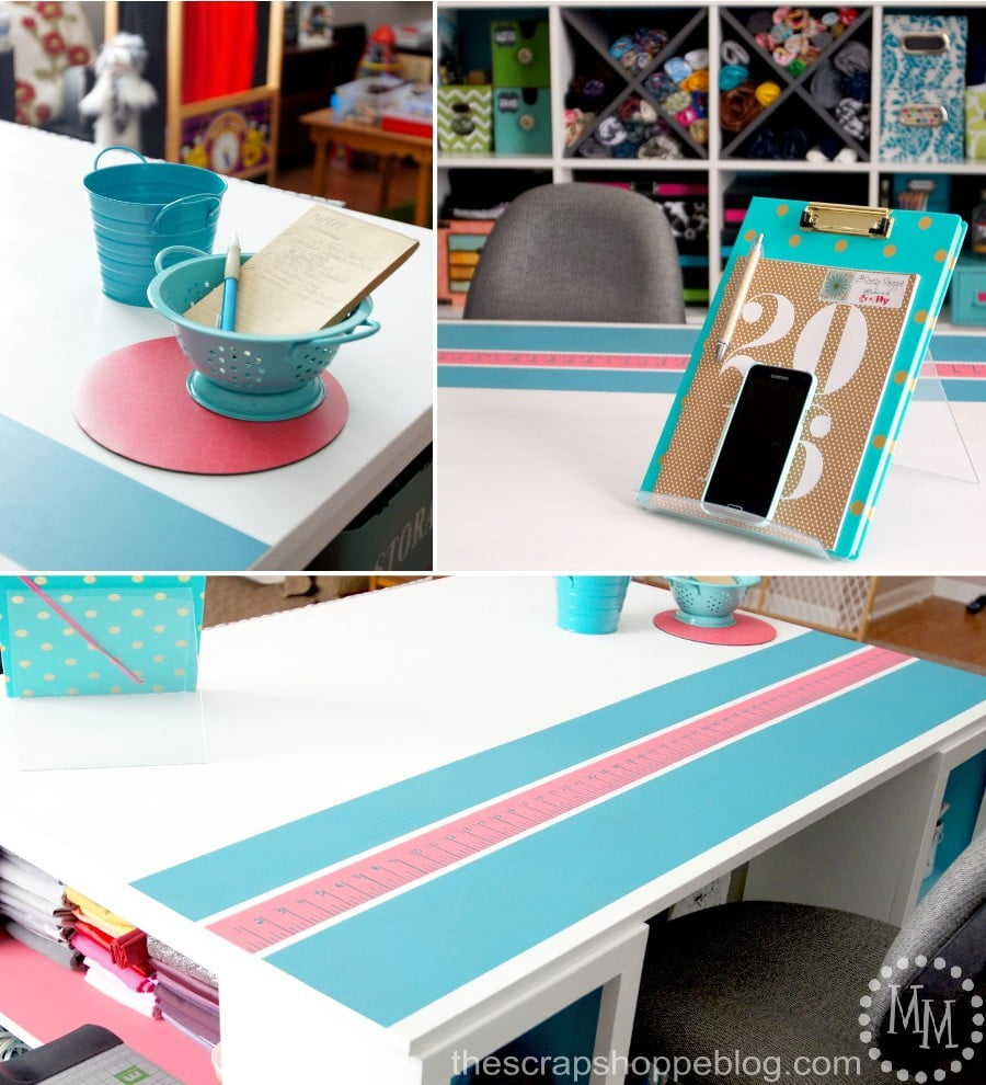 Bright and inviting craft space! Lots of storage and organization in a shared family space. - The Scrap Shoppe