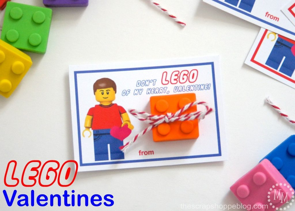 LEGO Valentines with FREE Printables - just print and add a Lego!