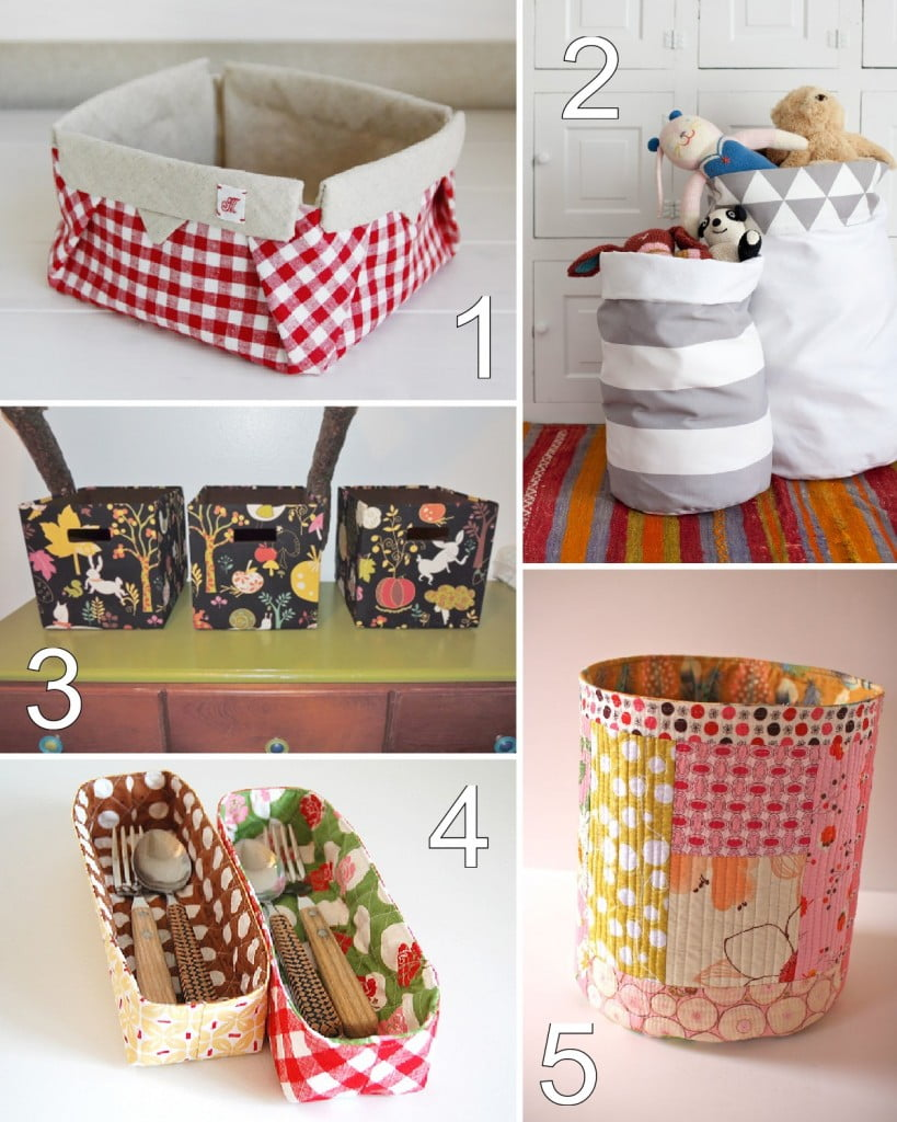 32 Fabric Bin & Basket Tutorials - some sew and some no sew!