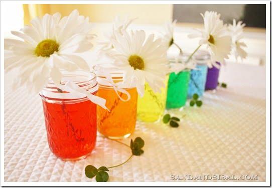 Rainbow mason jar centerpiece