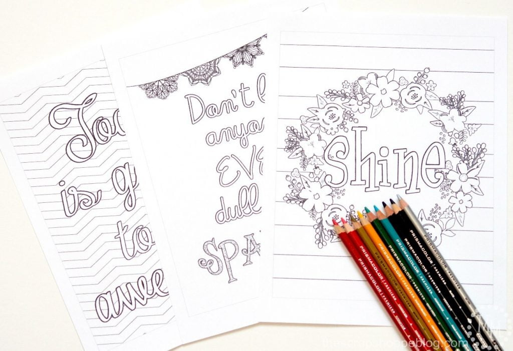 Typography Adult Coloring Sheets - The Scrap Shoppe