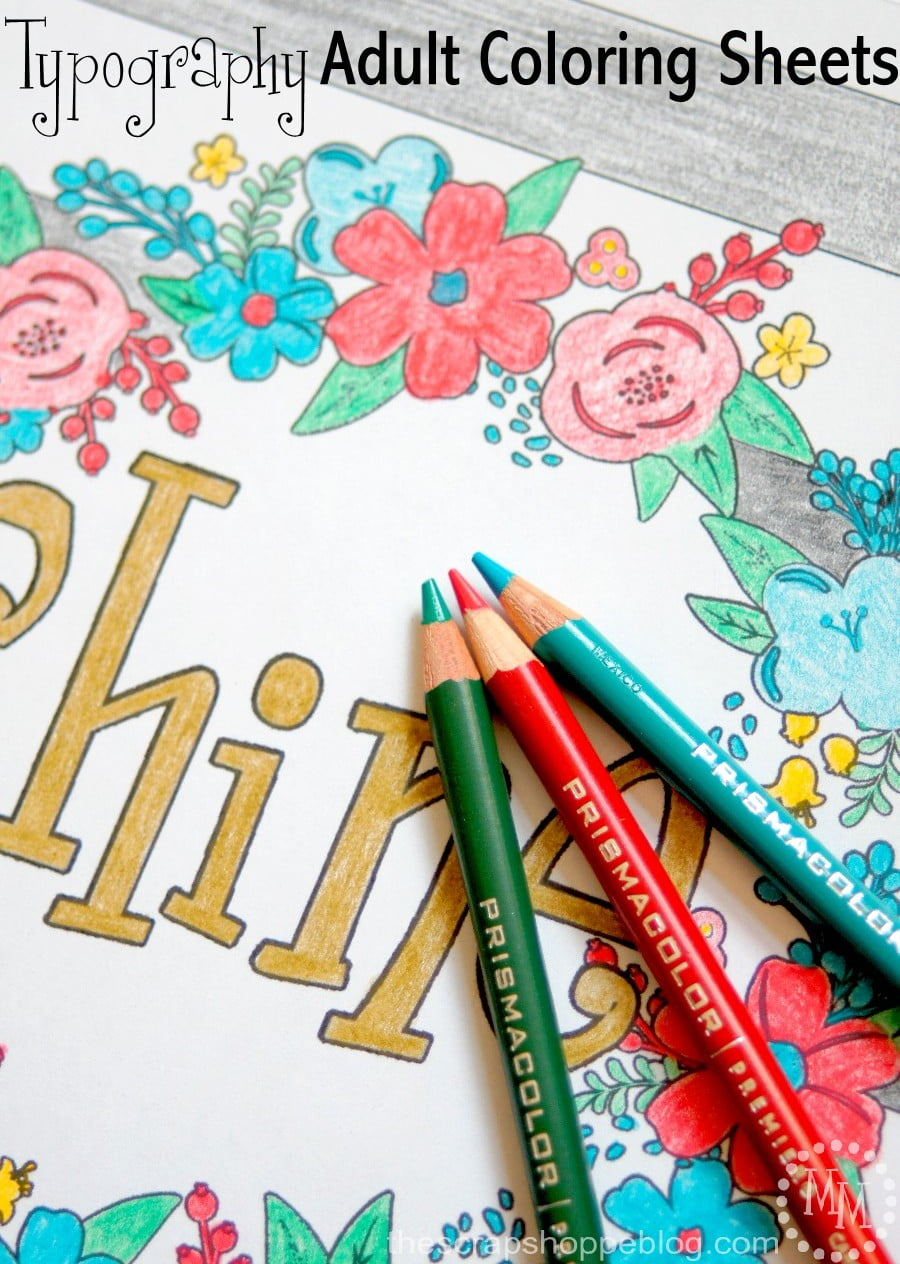Typography Adult Coloring Sheets