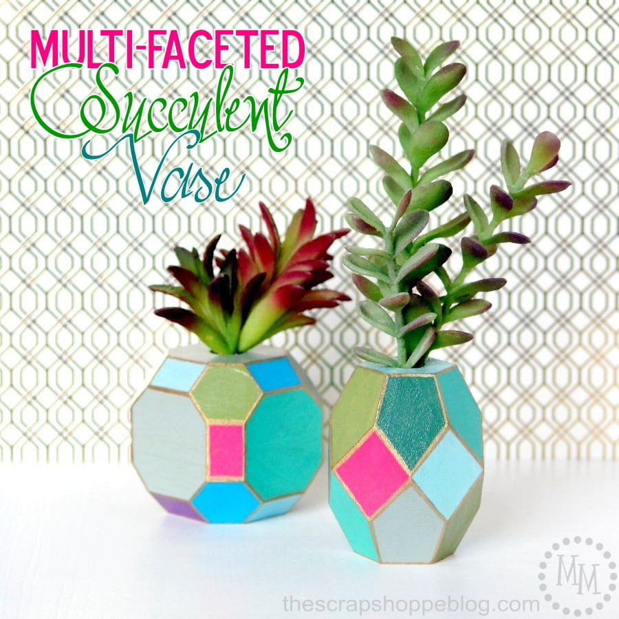 Multi-Faceted Spring Vase painted with succulent colors