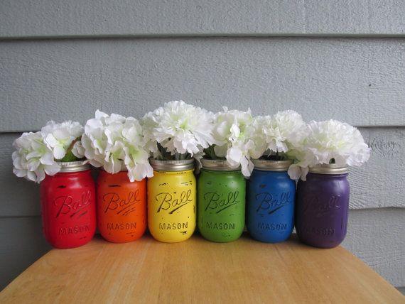 rainbow-distressed-mason-jars