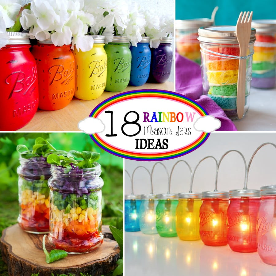 Mason Jar Decorations Part - 48: 18 Rainbow Mason Jar Ideas - From Crafts To Recipes To Lighting!