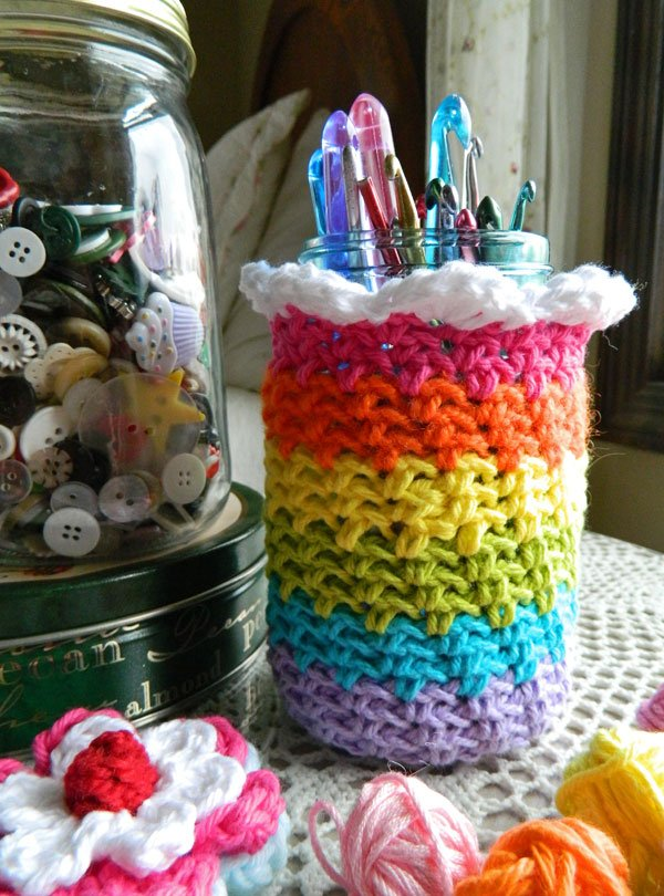 crochet rainbow cozy