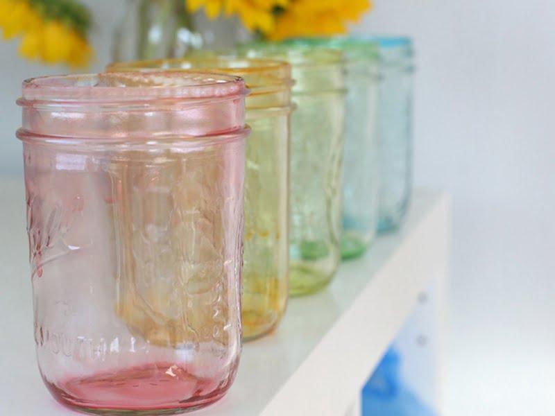 Rainbow tinted Mason jars