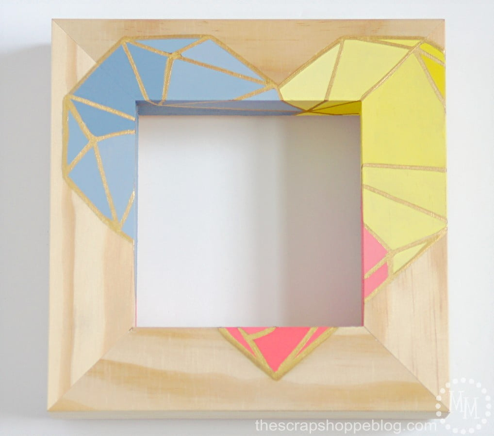 Ombre painted geometric heart frame with gold leaf accents