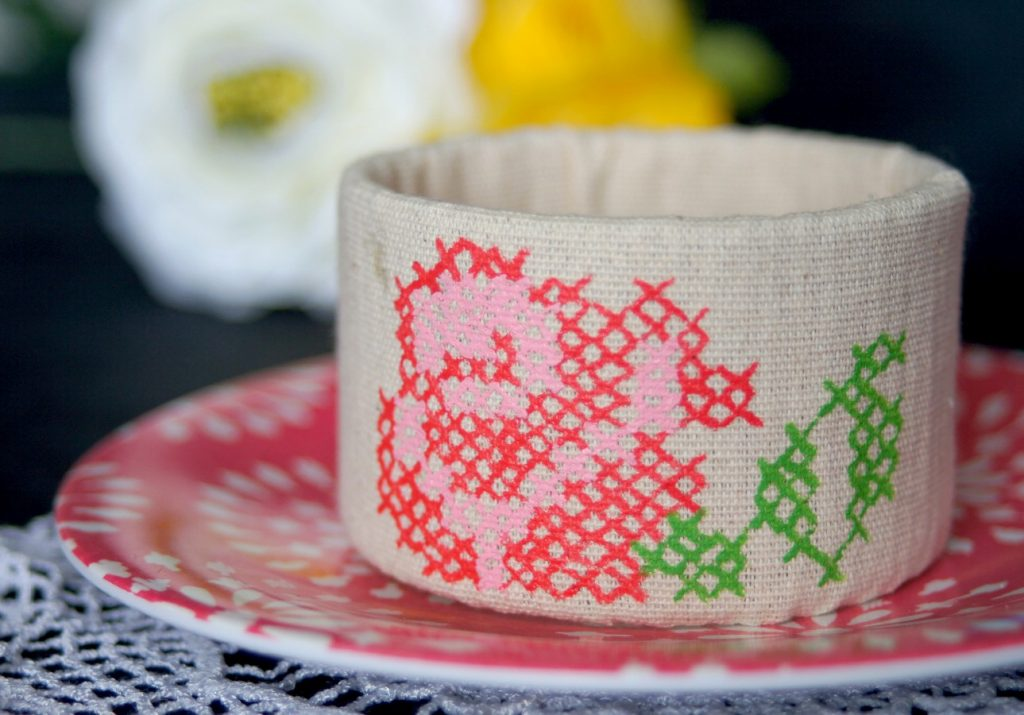 Painted Cross-Stitch Cuff made from upcycled materials